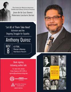 Jose de la Luz Veterans Lecture Series Presents Dr. Anthony Quiroz @ South Texas College Pecan Campus Library Rainbow Room | McAllen | Texas | United States