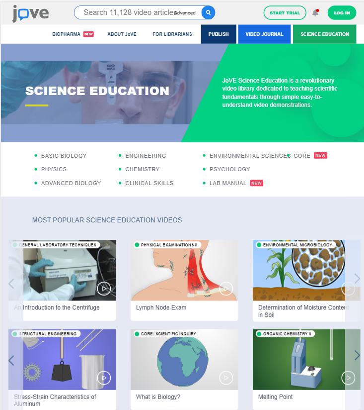 JoVE homepage
